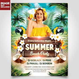 Summer beach party with girl flyer template