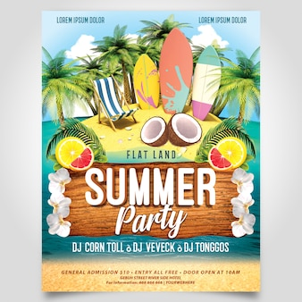Summer beach party with surfer board flyer template editable layer