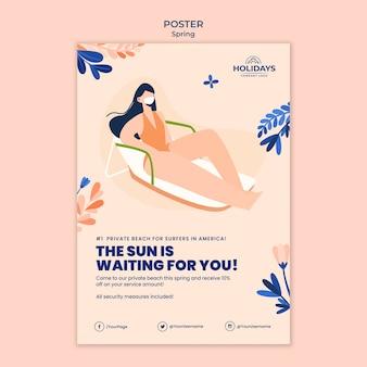 Modello di poster verticale per resort sulla spiaggia estiva