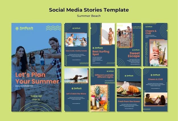 Modello di storie di social media sulla spiaggia estiva