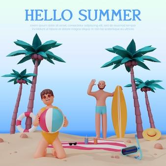 3d 캐릭터가 있는 여름 해변 렌더링 프리미엄 psd
