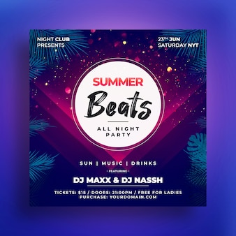 Summer beats party flyer
