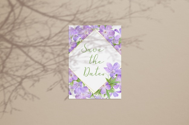 Summer blank card mockup  isolated on beige