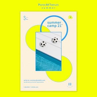 어린이 포스터 템플릿을위한 여름 캠프 무료 PSD 파일