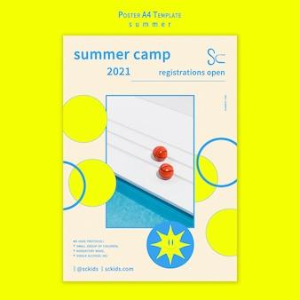 Шаблон плаката летнего лагеря