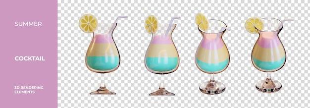 Summer cocktail 3d rendering elements