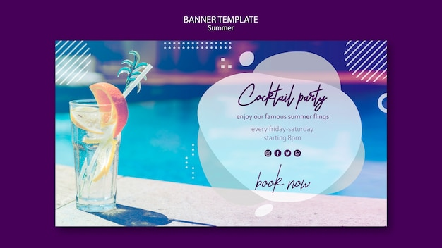 Summer cocktail banner template with photo