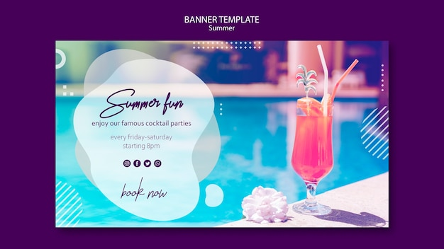 Summer cocktail banner template with picture