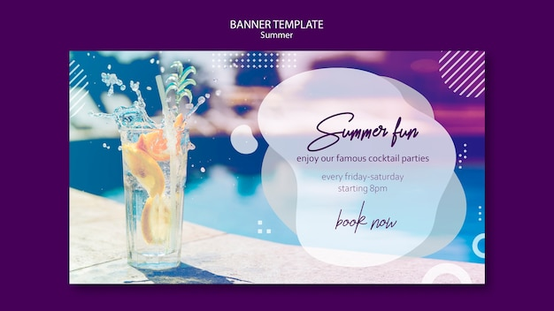 Summer cocktail banner template