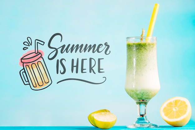 Summer cocktail concept with copyspace mockup