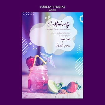 Summer cocktail flyer template with photo