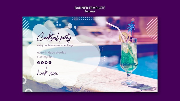 Summer cocktail horizontal banner template