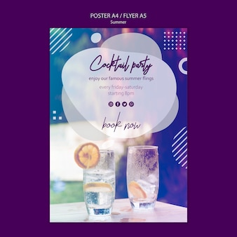Summer cocktail poster template with photo