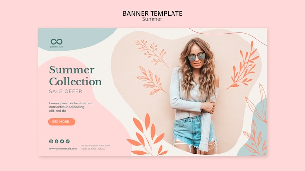 Summer collection sale banner template