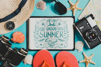 Summer composition with open leather book