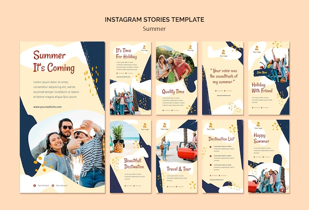 Summer concept instagram stories template