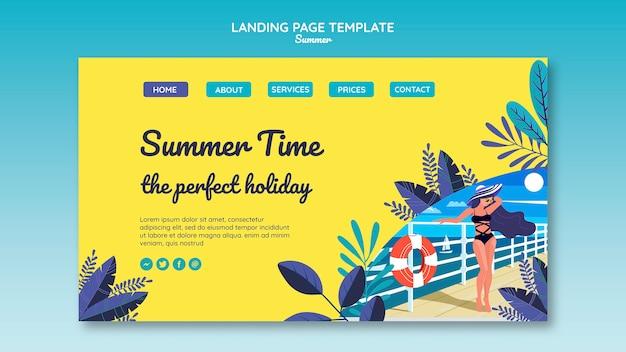 夏のコンセプトのランディングページテンプレート