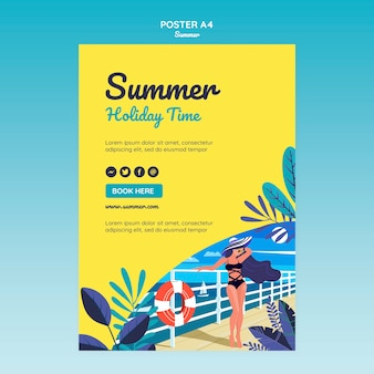 Summer concept poster template
