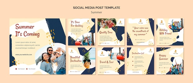 Summer concept social media post template