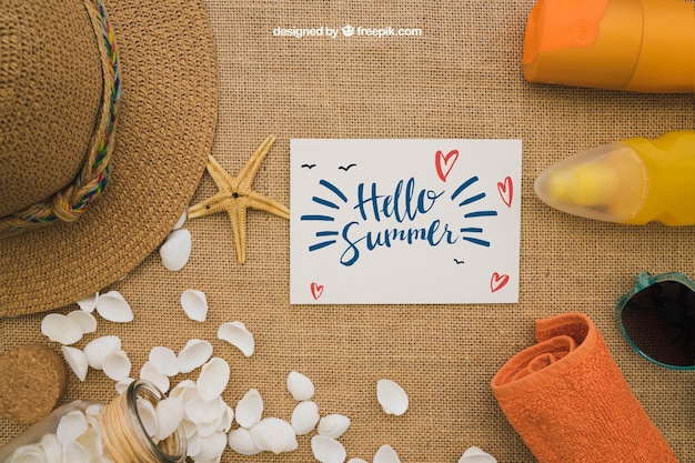 Summer concept with card
