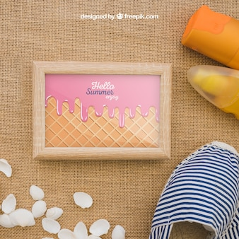 Summer concept with frame and suncream