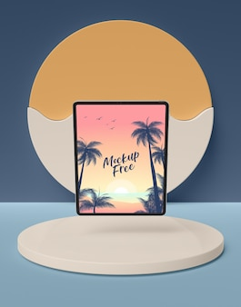 Summer concept with horizontal tablet