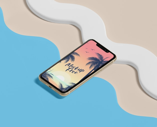 Summer concept with phone and beach