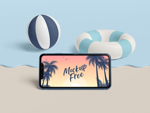 Summer concept with phone and sea