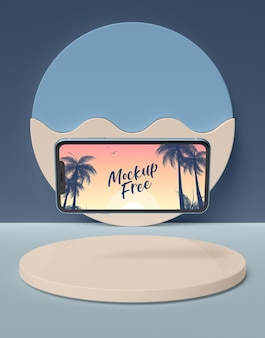 Summer concept with smartphone