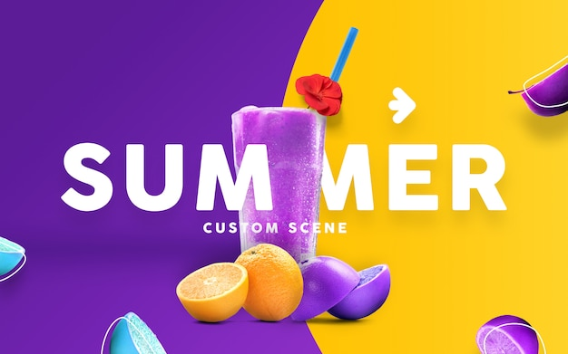 Summer custom scene with juice mockup
