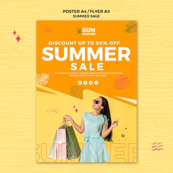 Summer discount sales poster template