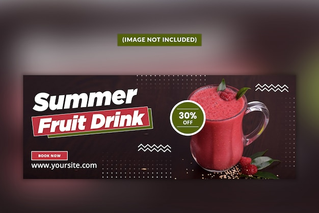 Summer drink facebook cover page template psd