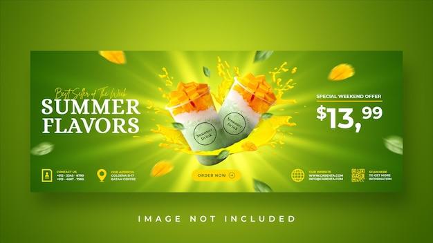 Summer drink menu promotion facebook cover banner template