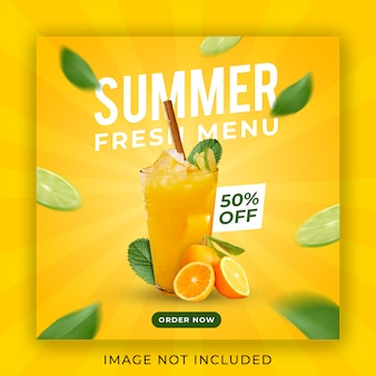 Summer drink menu promotion instagram post banner template