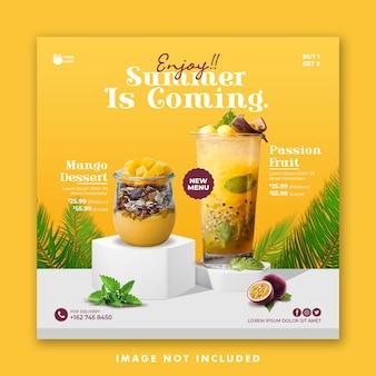 Summer drink menu social media post banner template