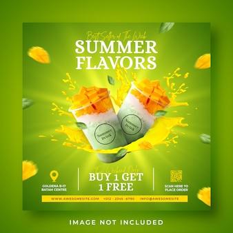 Summer drink menu social media post or banner