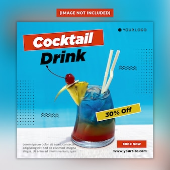 Summer drink social media post template