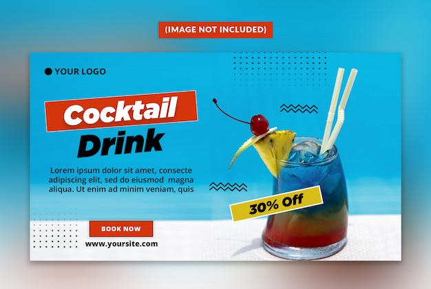 Summer drink web banner template psd