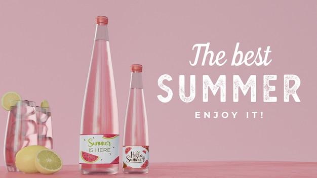 タイポグラフィーとテーブルの上の夏の飲み物