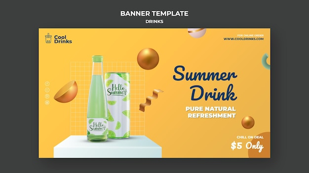 Summer drinks pure refreshment banner template