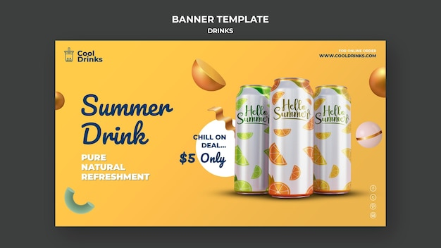 Summer drinks pure refreshment colored cans banner