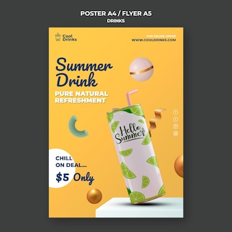 Summer drinks pure refreshment flyer