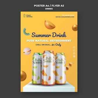 Summer drinks pure refreshment poster