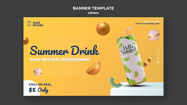 Summer drinks pure refreshment soda banner