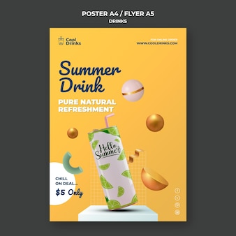 Summer drinks pure refreshment soda with straw poster