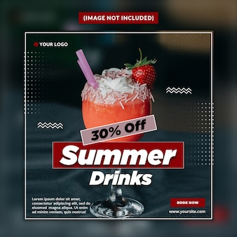 Summer drinks social media banner post template