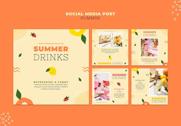 Summer drinks social media posts