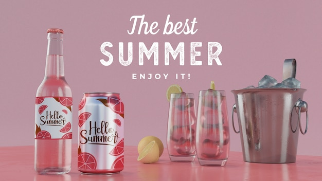 Summer drinks on table with typography