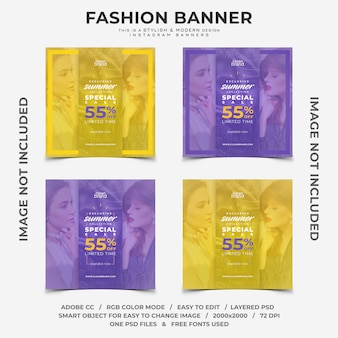 Summer fashion event discounts instagram banners