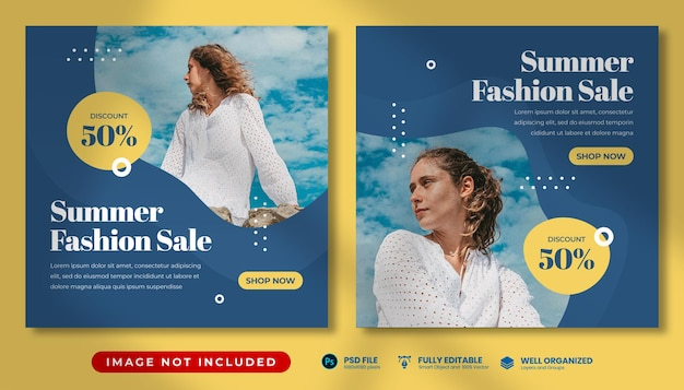 Summer fashion promo social media template